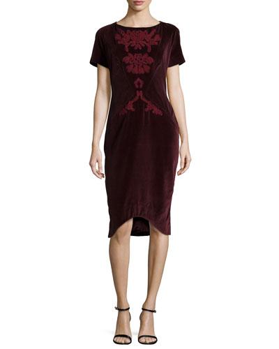 Embroidered Slim Velveteen Dress, Bordeaux