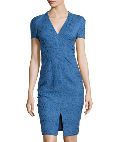 V-Neck Jacquard Sheath Dress, Royal Blue