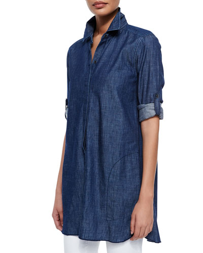 Maria Chambray Tunic Shirt, Classic