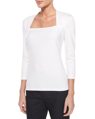 Giada 3/4-Sleeve Top, White