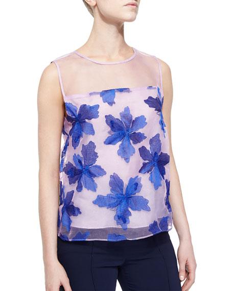 Rebecca Taylor Organza Floral-Applique Sleeveless Top