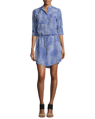 Fever Leopard-Print Drawstring Shirtdress