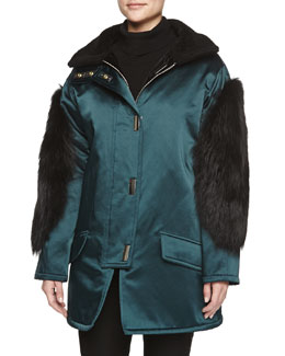 Fur-Trimmed Sateen Parka, Evergreen