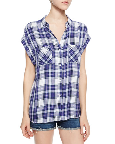 Britt Short-Sleeve Plaid Shirt, Lavender/Peach