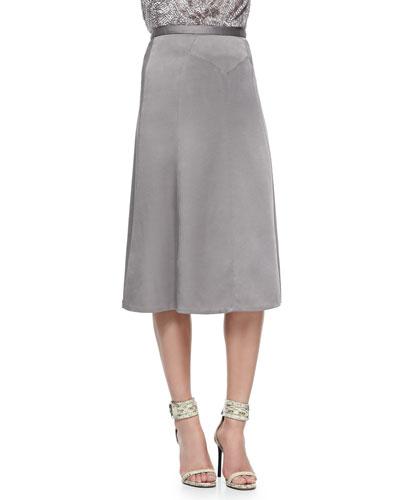 Wool Crepe Trumpet-Hem Skirt, Slate