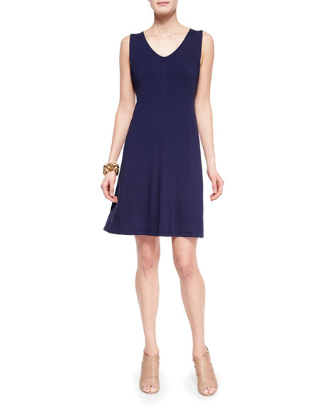Eileen Fisher V-Neck Shaped Jersey Dress, Midnight, Petite