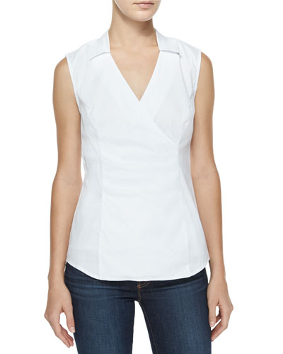 Fit Solution Sleeveless Faux-Wrap Top