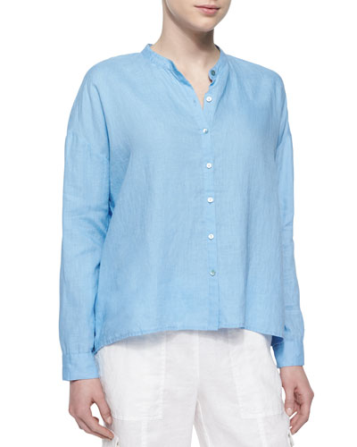 Mandarin-Collar Organic Linen Long-Sleeve Top, Petite