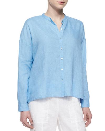 Mandarin-Collar Organic Linen Long-Sleeve Top, Women's
