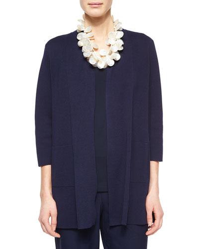 3/4-Sleeve Silk-Cotton Interlock Cardigan, Midnight, Petite