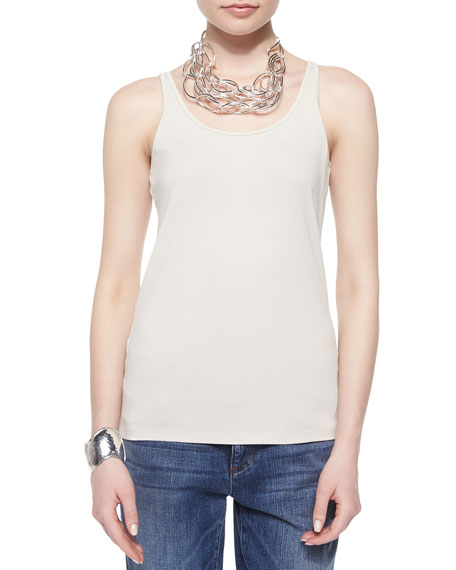 Eileen Fisher Long Stretch Silk Camisole, Bone, Petite