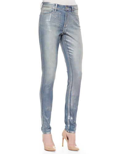 Ami Foil-Coated Super-Skinny Jeans, Silverwashed