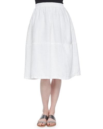 Oval Organic Linen Skirt, White, Petite