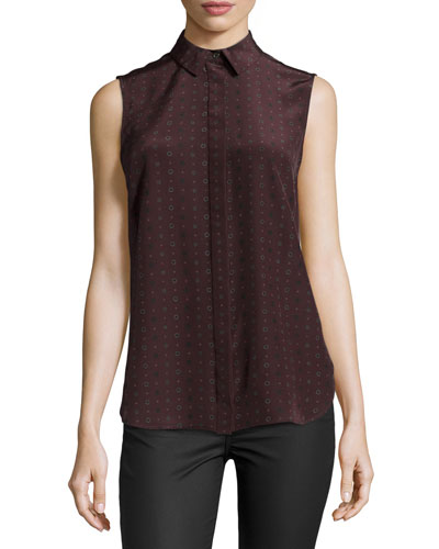 Sleeveless Geometric-Print Silk Shell