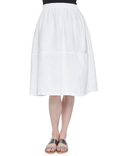 Oval Organic Linen Skirt, White