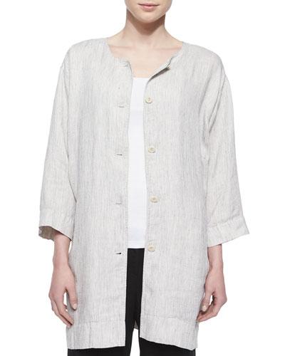 Button-Front Striped Slub Long Jacket, Women