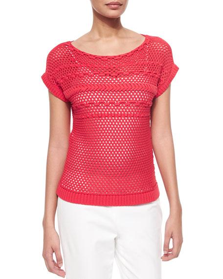 Lafayette 148 New York Eyelet Stitch Short-Sleeve Sweater