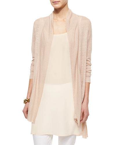 Shawl Collar Long Cardigan, Petite