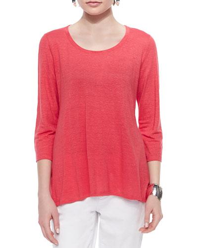 3/4-Sleeve Linen Jersey Top, Petite