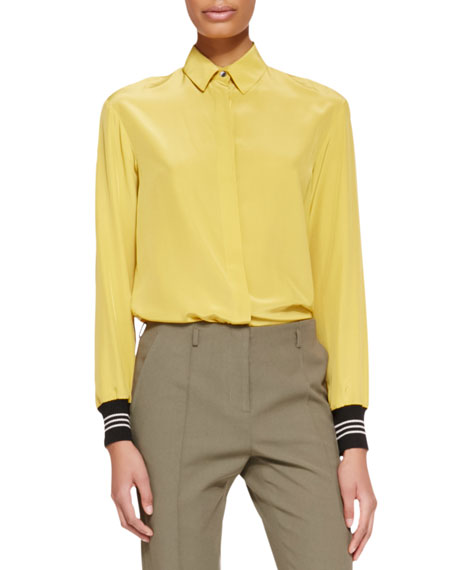 Jason Wu Long-Sleeve Ribbed-Cuff Silk Blouse, Gold