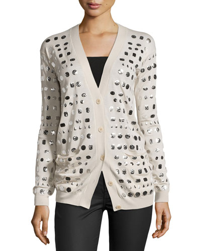 Long-Sleeve Embellished Button-Front Cardigan