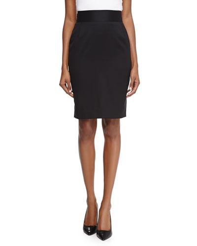 Wool Sateen Pencil Skirt, Black