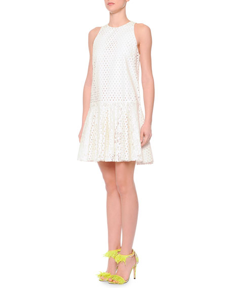 MSGM Eyelet/Lace Drop-Waist Dress