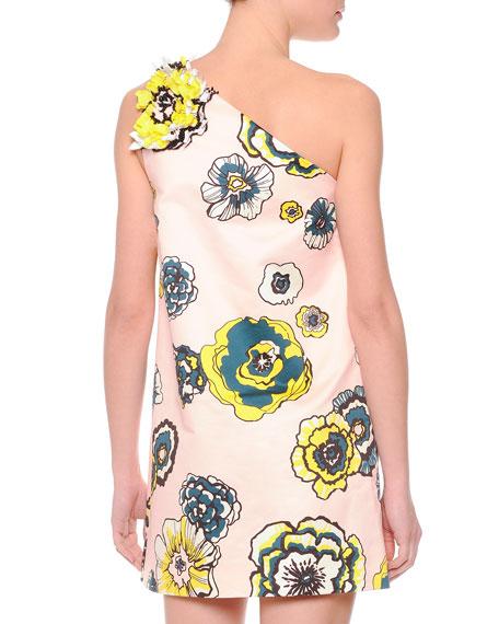 MSGM Floral-Print One-Shoulder Shift Dress