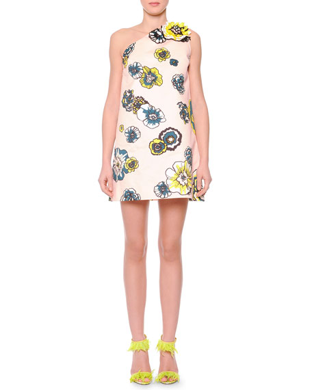 MSGM Floral-Print One-Shoulder Shift Dress