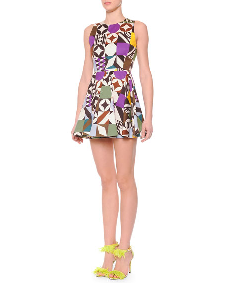 MSGM Printed Flare-Skirt Sleeveless Dress
