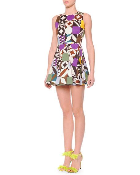 MSGM Printed Flare-Skirt Sleeveless Dress