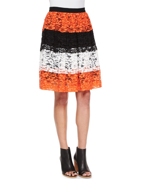 MSGM Tricolor Lace Full Skirt