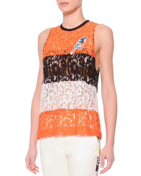 MSGM Wide-Stripe Sheer Lace Bird Top