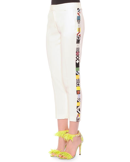 MSGM Slim Suit Pants with Embroidered Sides