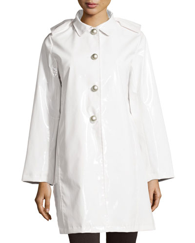 Princess Raincoat with Detachable Hood, White