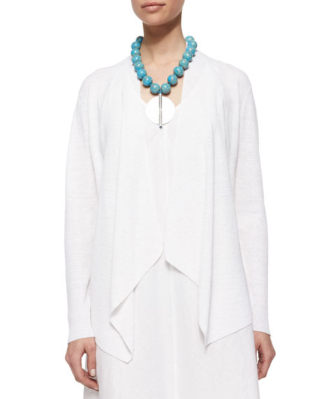 Eileen Fisher Organic-Linen Angled-Front Cardigan, Petite