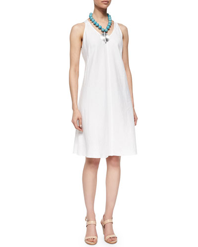 Sleeveless Linen Bias Dress, Petite