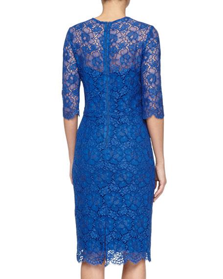 3/4-Sleeve Lace Sheath Dress, Royal Blue