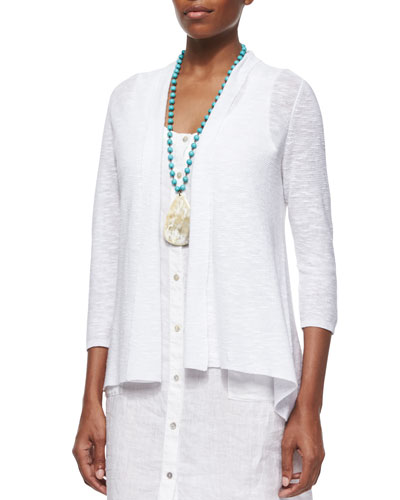 3/4-Sleeve Organic Linen Cotton Cardigan, Petite