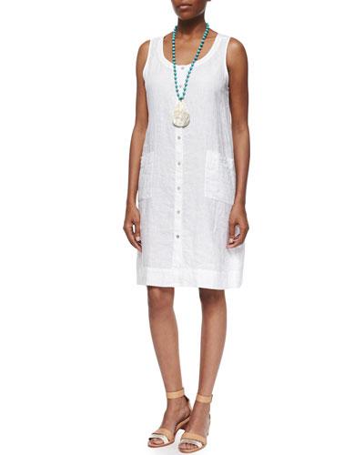 Sleeveless Organic Linen Dress, White, Petite