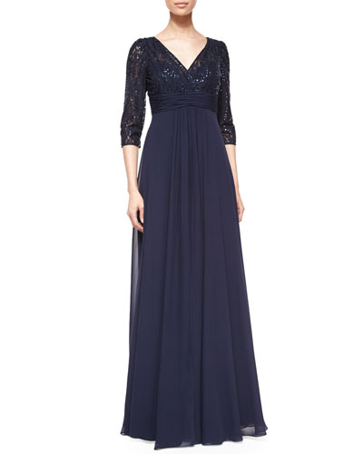 3/4-Sleeve Lace & Chiffon Empire Gown