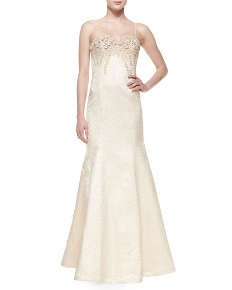Rickie Freeman for Teri Jon Spaghetti Strap Jacquard Mermaid Gown