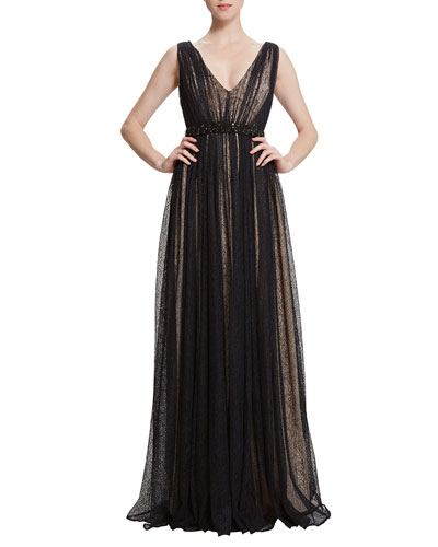 Sarina Embellished-Waist Overlay Gown