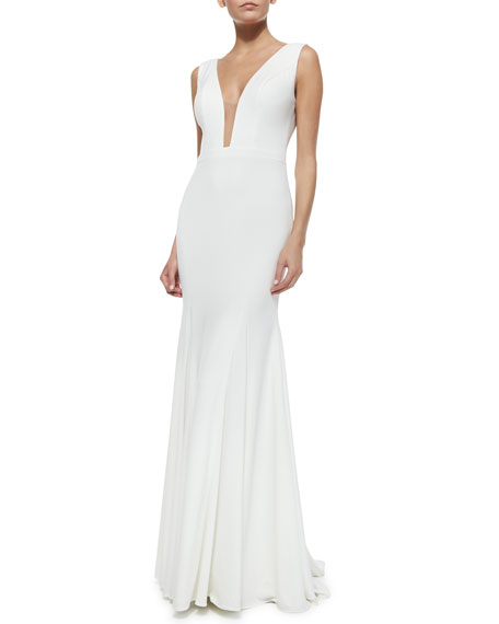 Jovani Plunging Illusion-Neck Godet Gown