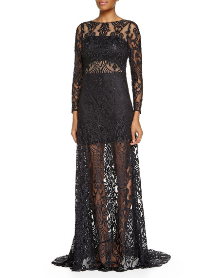 Long-Sleeve Sheer Lace Gown, Black