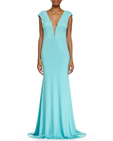 Jovani Cap-Sleeve Sequined Mermaid Gown, Aqua