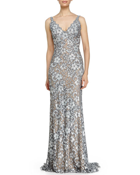 Jovani Open-Back Sleeveless Beaded Lace Fishtail Gown
