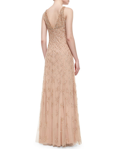 Sleeveless Beaded & Sequined A-Line Gown, Nude