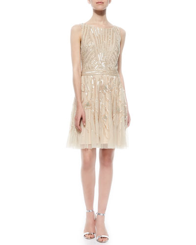 Sleeveless Beaded-Waist Flare Cocktail Dress