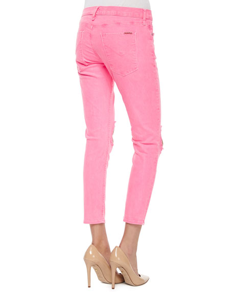 Finn Distressed Cropped Ankle Jeans, Vivid Pink